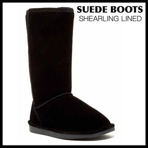 GENUINE SUEDE SHEARLING LINED BLACK TALL BOOTS